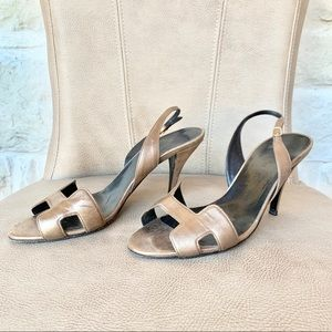 💯HERMES NIGHT 70 SANDALS HEELS BRONZE EURO 38